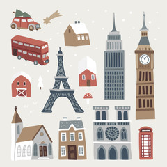 Set of cute winter city, town and village icons. Hand drawn houses, church, Eiffel and Big Ben tower, doubledecker and car. Christmas design. Isolated vector objects, flat design.