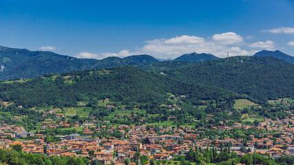 View of town and mountains near Bergamo, Italy