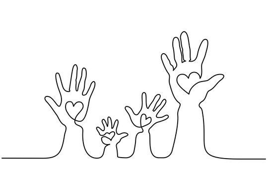 Continuous one line drawing. Abstract family hands holding hearts. Vector illustration