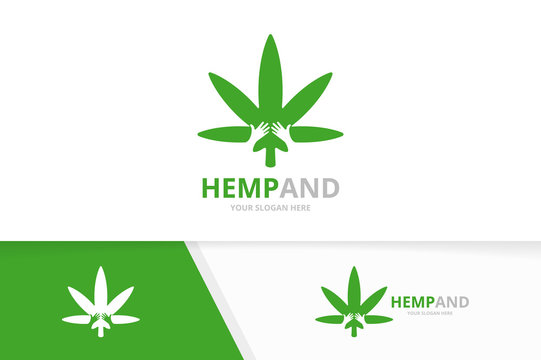 Vector marijuana leaf and hands logo combination. Hemp and embrace symbol or icon. Unique cannabis logotype design template.