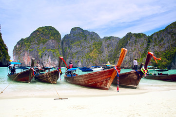 Traditional Thai long tail boat on the famous beach on Kho Phi Phi island, Thailand