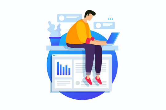 Concept of digital technology, work with business graphics, career growth to success. Young man sits with laptop and rewrites in chat. Vector flat illustration.