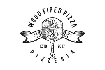 italian pizza, wood fired logo Designs Inspiration Isolated on White Background