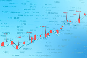 3d rendering, Stock chart with blue background