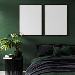 Mock-up poster in modern dark green bedroom interior with potted plant on table,3d render