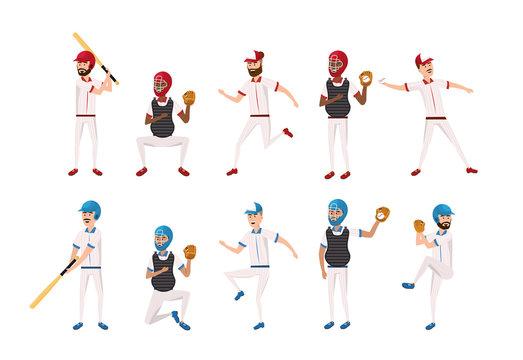 set professional baseball players teamwork competition
