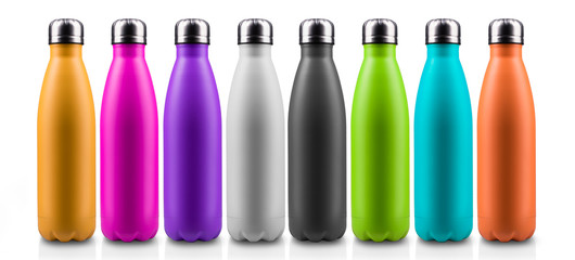 Colorful thermo bottles for water, isolated on white background.