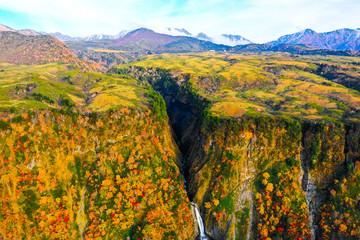 紅葉 称名滝 2018年10月22日 空撮