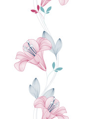 Abstract seamless hand drawn floral pattern with lily flowers. Vector illustration. Element for design.