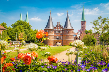 Historic town of Lübeck with Holstentor gate in summer, Schleswig-Holstein, northern Germany