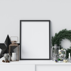 Mock Up Poster Frame with Christmas Decorative Elements