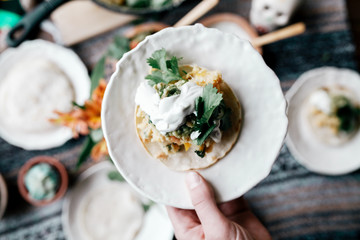 Taco meal on table