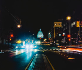 View of the US Capitol building along North Capitol street in downtown Washington D.C. at night