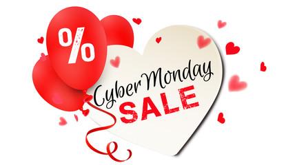 Cyber Monday Sale - Herz Banner mit Prozente Luftballons und Typographie