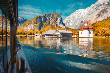Wall Mural - Lake Königssee with St. Bartholomä pilgrimage chapel in fall, Bavaria, Germany