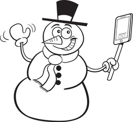 Black and white illustration of a smiling snowman holding a cell phone.