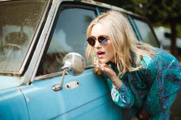 Fashion blogger modeling vintage clothing