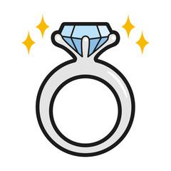 指輪のイラスト。ダイヤモンドが輝く結婚指輪のイラスト。