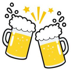 ビールのイラスト。飲み会で乾杯をしているイラスト。