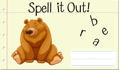Spell English word bear