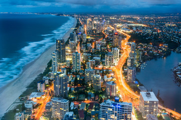 Aerial view of Surfers Paradise in Gold Coast, Australia