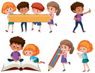 Set of school children