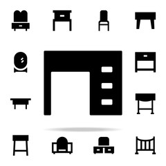 computer table glyph icon. Furniture icons universal set for web and mobile