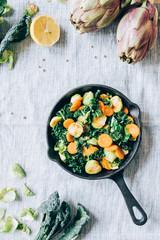 Sauteed veggies in a iron pan