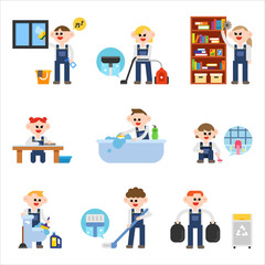 house cleaning character set. flat design style vector graphic illustration.