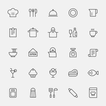 kitchen tools black line icon set. flat design style vector graphic illustration.