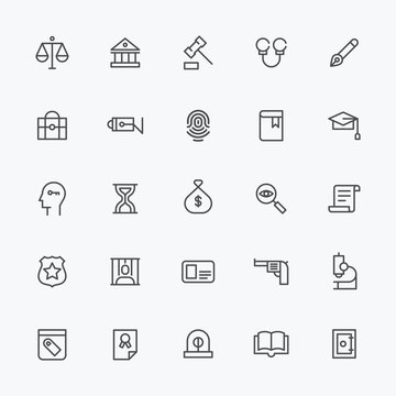 black line icons about criminal. flat design style vector graphic illustration.
