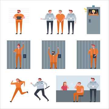Various life of prisoners in prison. flat design style vector graphic illustration.