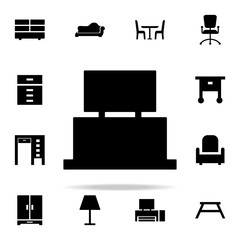 tv table furniture glyph icon. Furniture icons universal set for web and mobile
