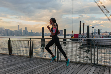Young Black Woman Running in Brooklyn New York
