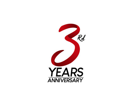 3 anniversary logo vector red ribbon