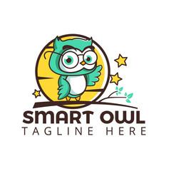 smart owl logo on tree