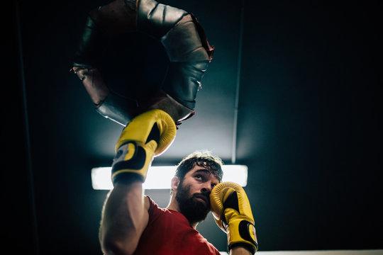 Bearded man boxing workout