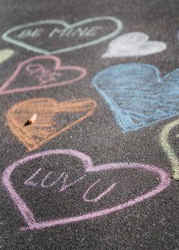 Heart chalk art