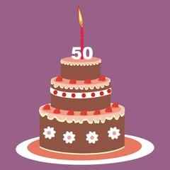 birthday cake, 50 years, vector illustration
