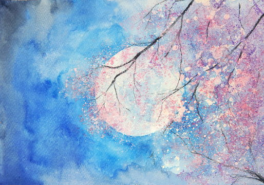 watercolor full moon and pink tree landscape