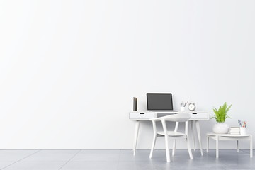 View of an working interior with white wall empty room,minimal design,3d rendering