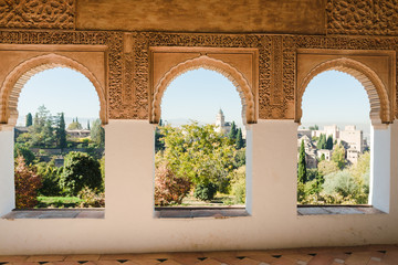 Moorish window inside of Generalife in the Alhambra, Granada.