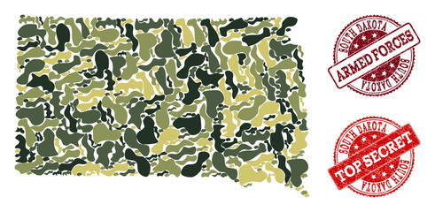 Military camouflage combination of map of South Dakota State and red rubber seals. Vector top secret and armed forces seals with unclean rubber texture. Army flat design for military posters.