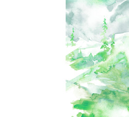 Watercolor picture of mountains, forest with pine trees, fir, cedar. Abstract vintage spots of green. Postcard, picture, poster, logo. Abstract green paint splash.