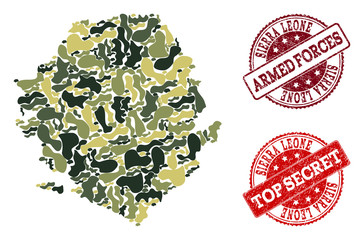 Military camouflage combination of map of Sierra Leone and red dirty seals. Vector top secret and armed forces seals with corroded rubber texture. Army flat design for military posters.