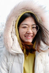 Asian young woman in winter