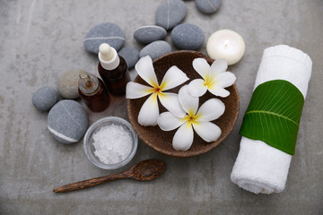 Spa set with stones and bloom