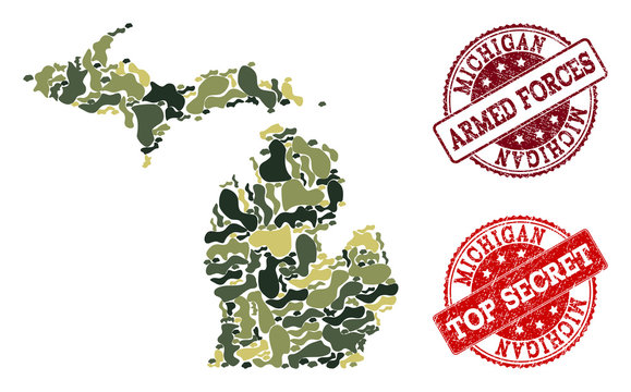 Military camouflage collage of map of Michigan State and red grunge seal stamps. Vector top secret and armed forces imprints with grunge rubber texture. Army flat design for military posters.
