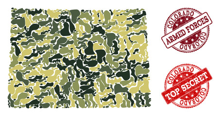 Military camouflage combination of map of Colorado State and red textured seals. Vector top secret and armed forces seals with scratched rubber texture. Army flat design for military illustrations.