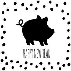 Vector illustration of Pig and text. Cute piggy silhouette, Zodiac symbol of 2019 New year. Cute cartoon pig useful for invitations, scrapbook, Christmas card, poster, sticker, clip art.